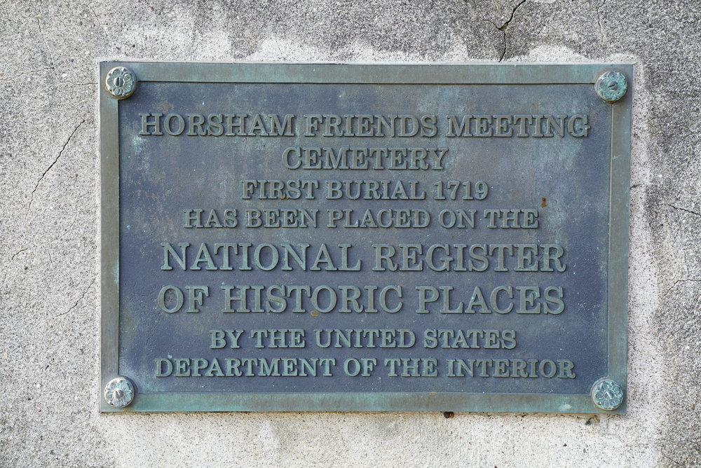 Plaque at the entrance to Horsham Friends Meeting Cemetery. Horsham, Pennsylvania.