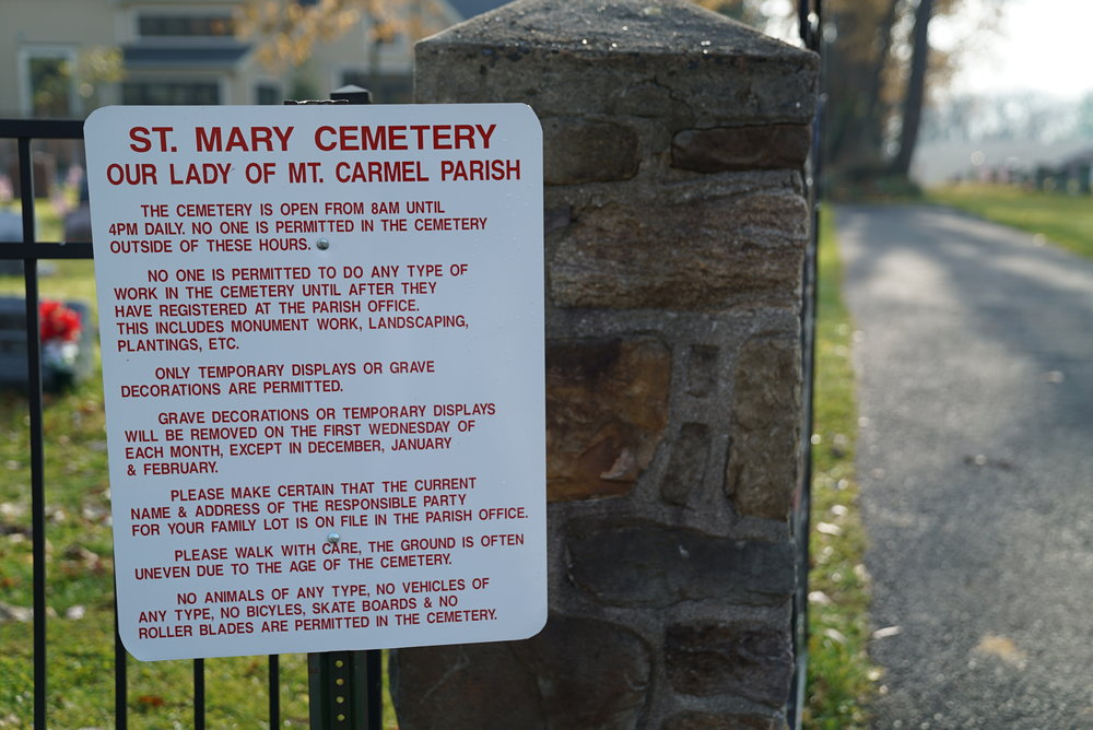 Sign at the entrance to St. Mary Cemetery. Doylestown, Pennsylvania.