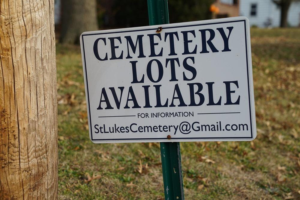 Actively promoting burial lot availability. St. Luke's United Church of Christ Cemetery. Dublin, Pennsylvania.