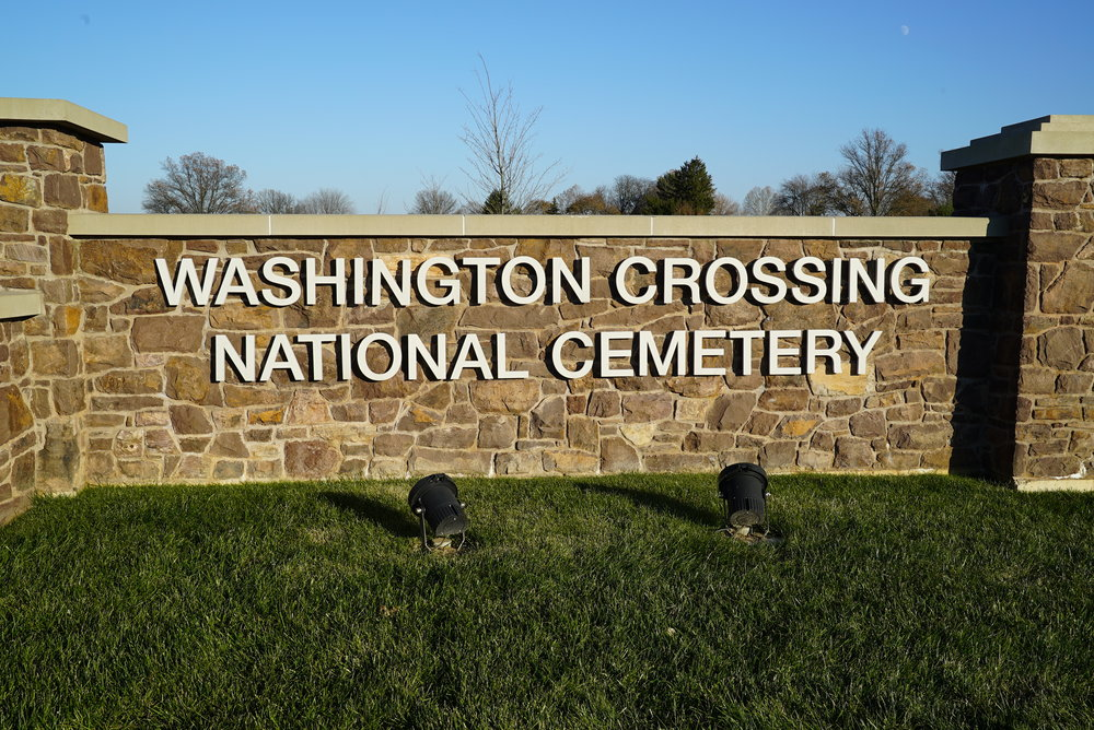 At the entrance to Washington Crossing National Cemetery. Upper Makefield, Pennsylvania (Bucks County).