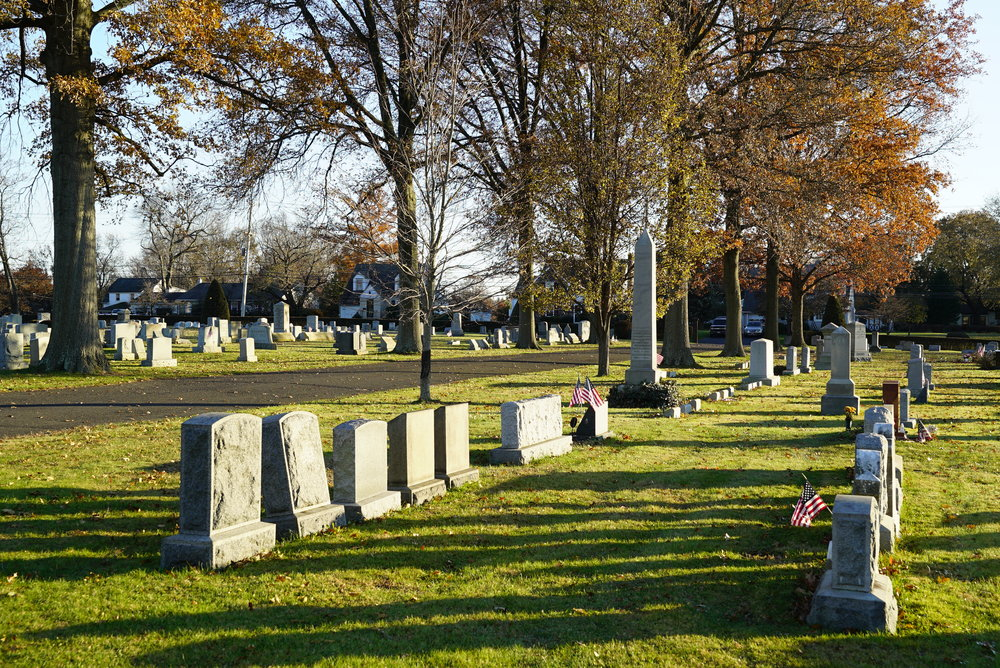Late afternoon sun in November at Newtown Cemetery, Newtown, Bucks County, Pennsylvania.