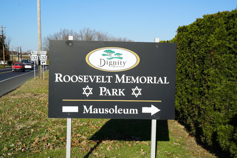 Sign at an entrance to Roosevelt Memorial Park Cemetery. Trevose, Pennsylvania.