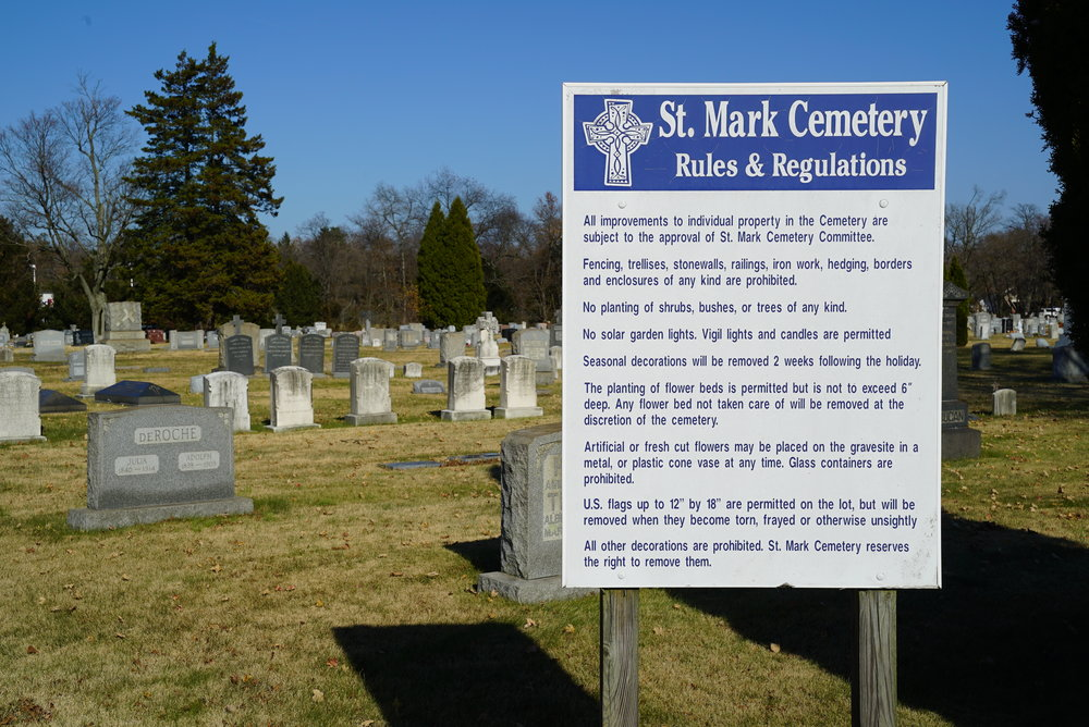 Sign at the entrance to St. Mark Cemetery, along Route 13 in Croydon, Pennsylvania.