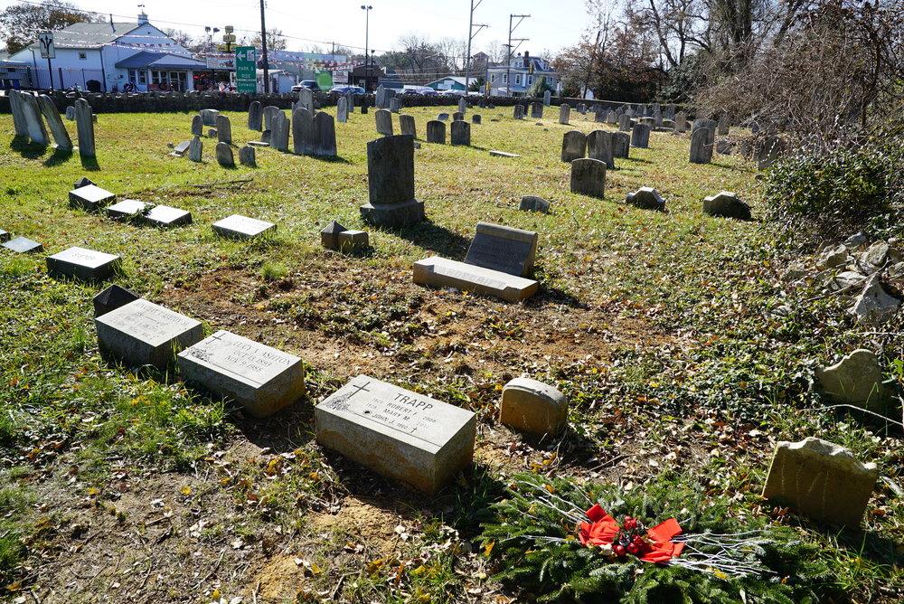 A holiday wreath laid at a grave. Vandegrift Cemetery. Bensalem, Pennsylvania.