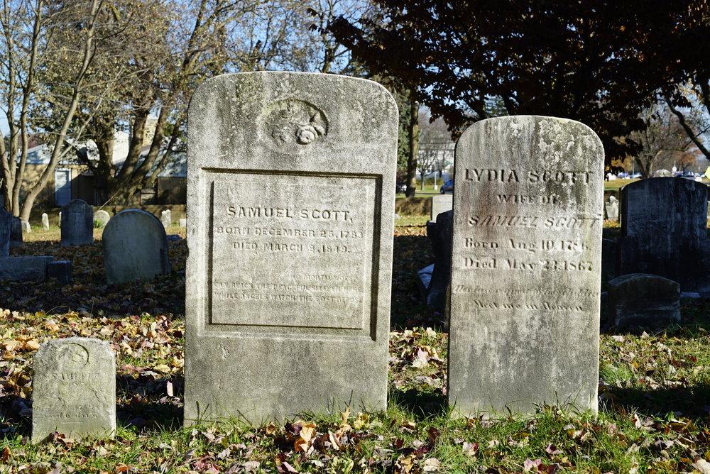 Old tombstones at Bensalem United Methodist Church Cemetery. Bensalem, Pennsylvania.