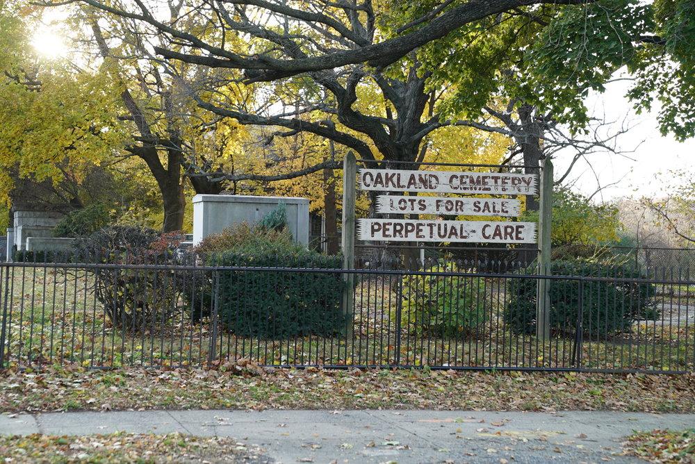 Sign at Oakland Cemetery. Philadelphia, Pennsylvania.