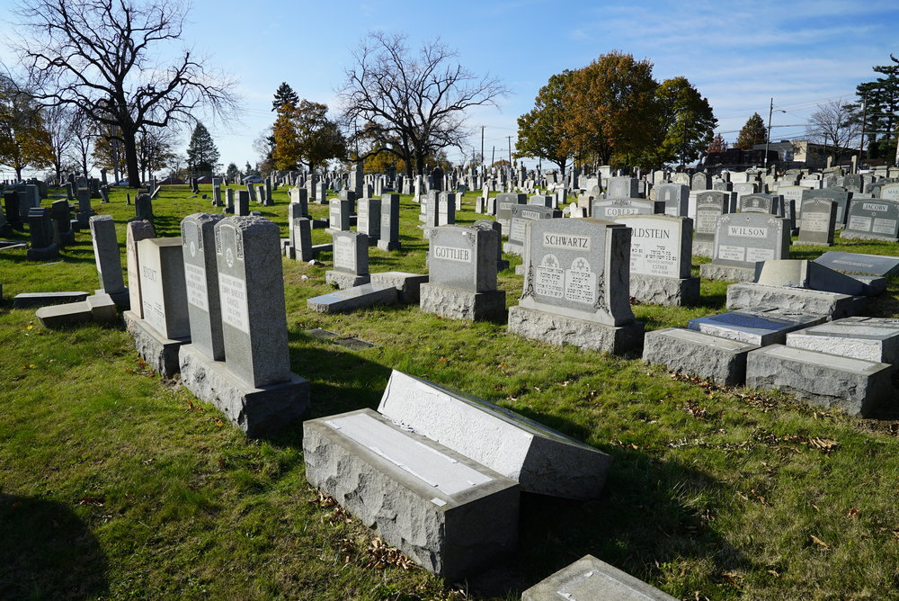 November 20, 2017 - Numerous headstones are still toppled over despite reports that restoration work had been completed. Mt. Carmel Cemetery. Philadelphia, Pennsylvania.