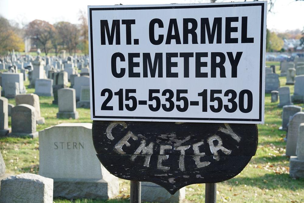 Sign at Mt. Carmel Cemetery. Philadelphia, Pennsylvania.