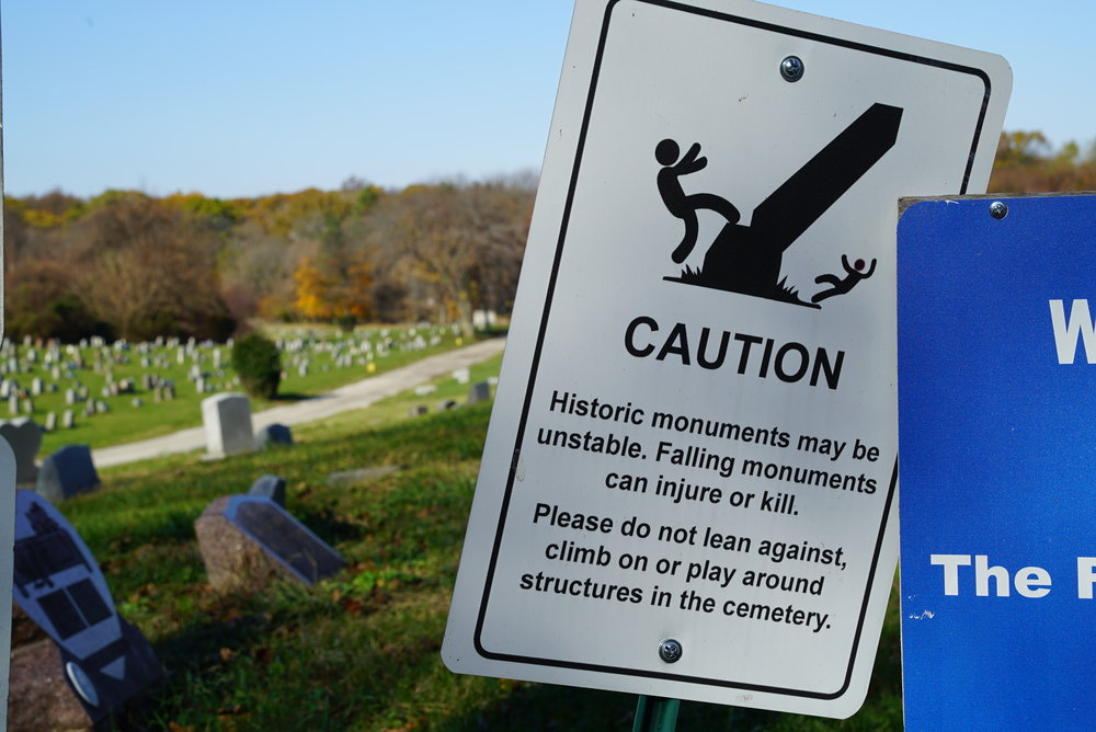 This sign is at Mount Moriah Cemetery. But it would be appropriate to have a few of these here, at Mount Carmel.