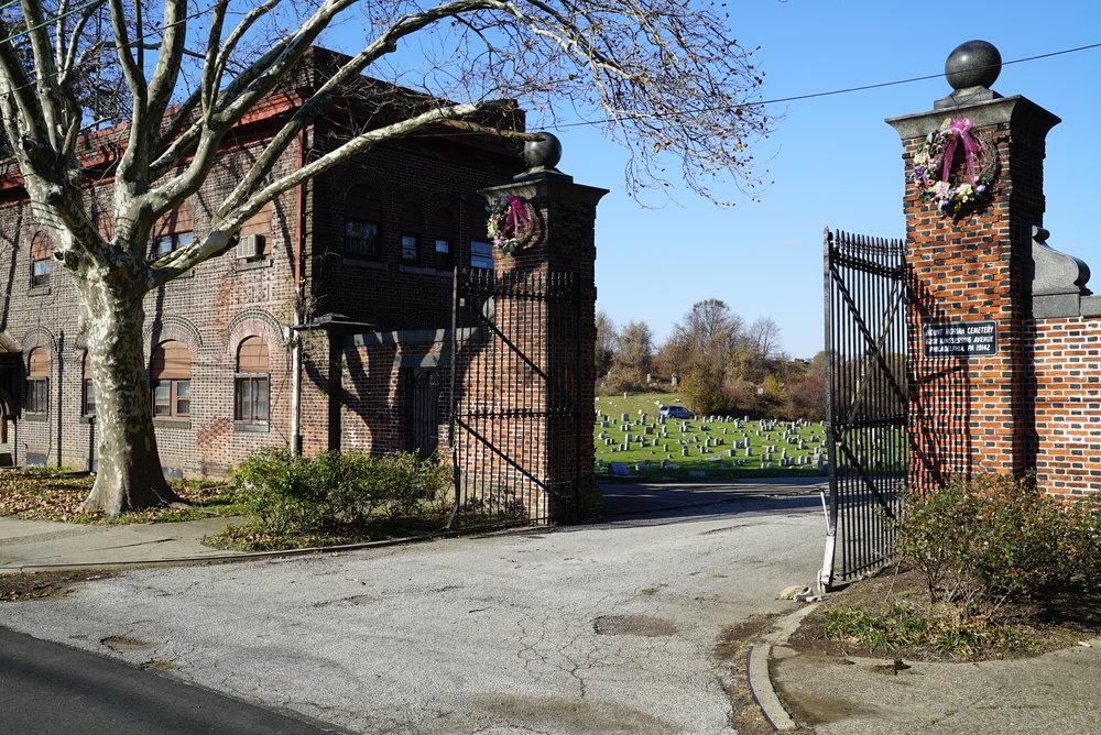 At the entrance to Mount Moriah Cemetery. Philadelphia, Pennsylvania.