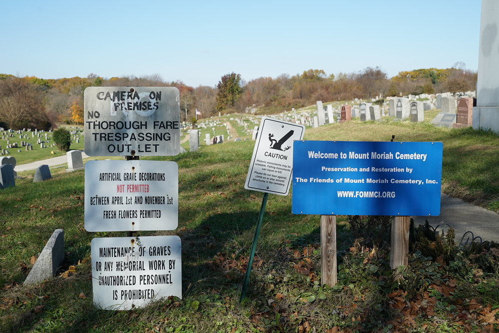 Signage near the entrance to Mount Moriah Cemetery. Philadelphia, Pennsylvania.