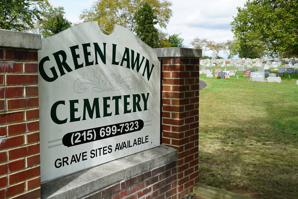 Sign at the entrance to Green Lawn Cemetery. Lansdale, Pennsylvania.