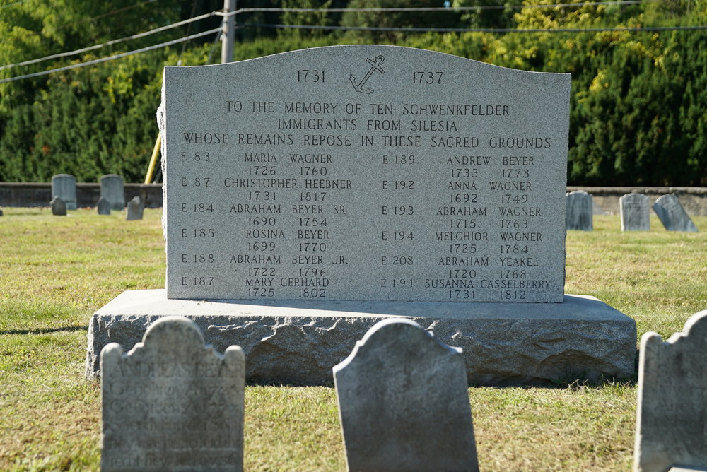 Schwenkfelder exiles are buried here. Methacton Mennonite Cemetery. Worcester Township, Pennsylvania.