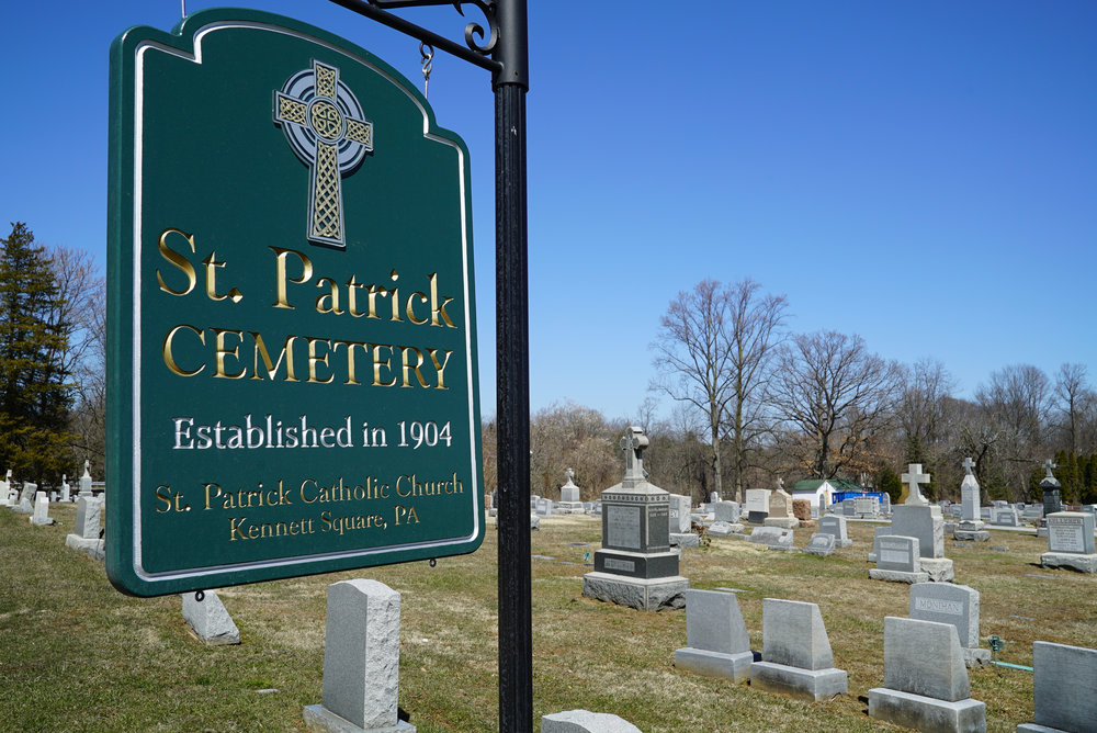 New sign at entrance to St. Patrick's Cemetery. Kennett Square, Pennsylvania.