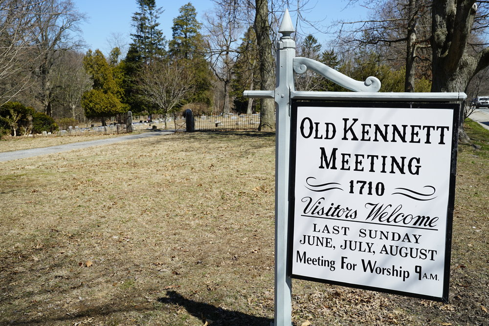 Sign along Route 1. Old Kennett Friends Meetinghouse Cemetery.