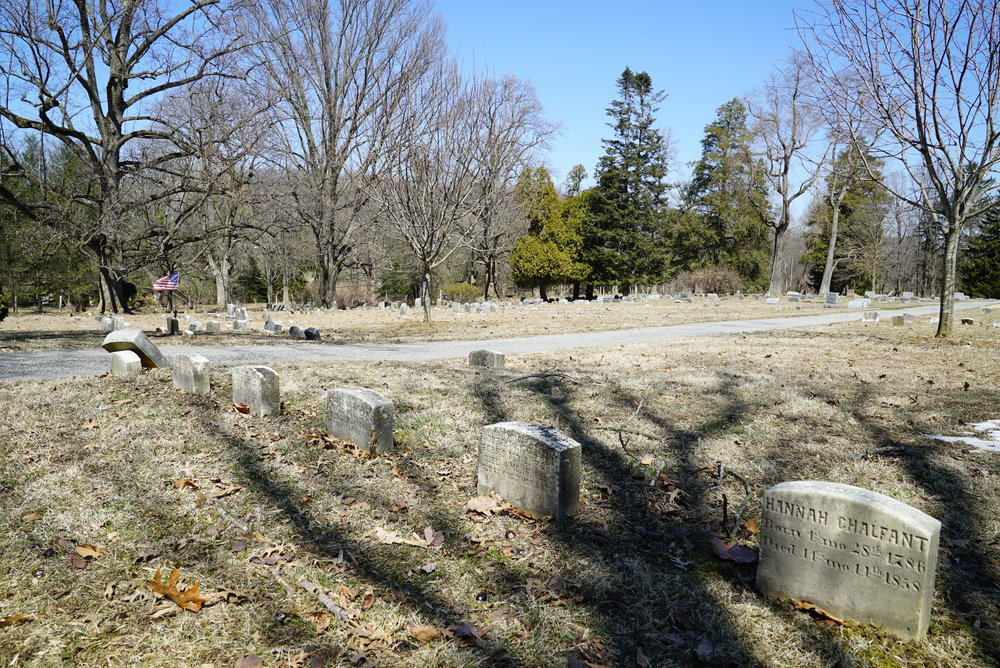 Old graves at Old Kennett Friends Meetinghouse Cemetery. Kennett Square, Pennsylvania.