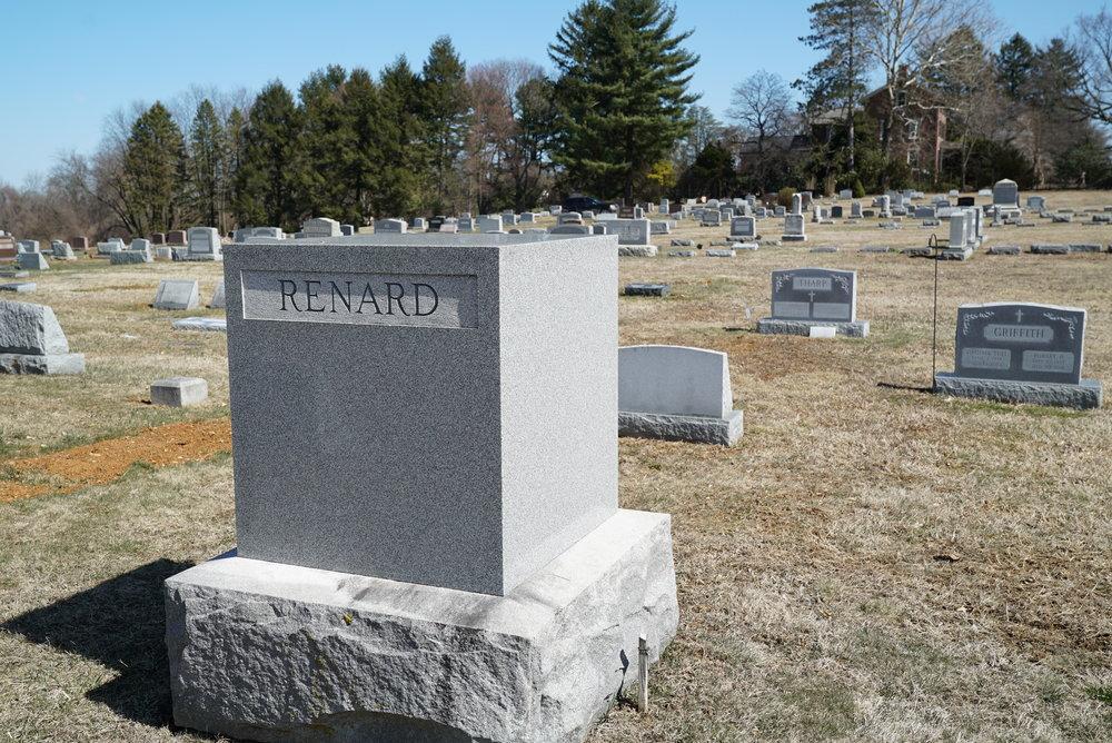 Unusual cube monument. Unionville Cemetery. Unionville, Pennsylvania.