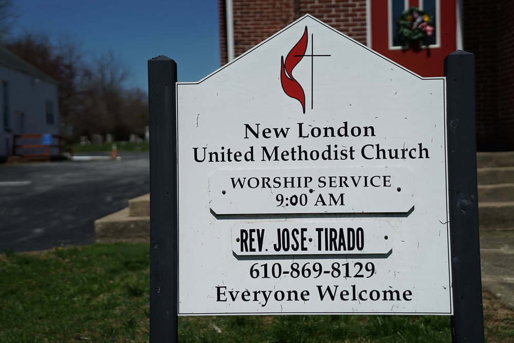 Sign at New London United Methodist Church Cemetery. Chester County, Pennsylvania.