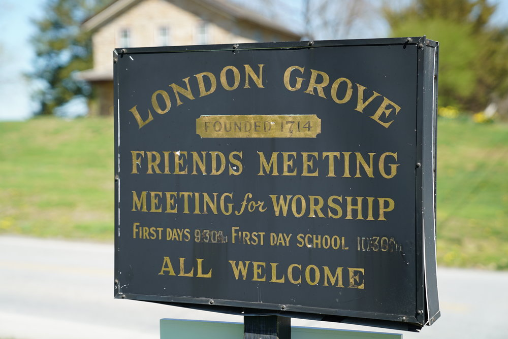 Sign outside London Grove Friends Burial Ground. Kennett Square, Pennsylvania area.