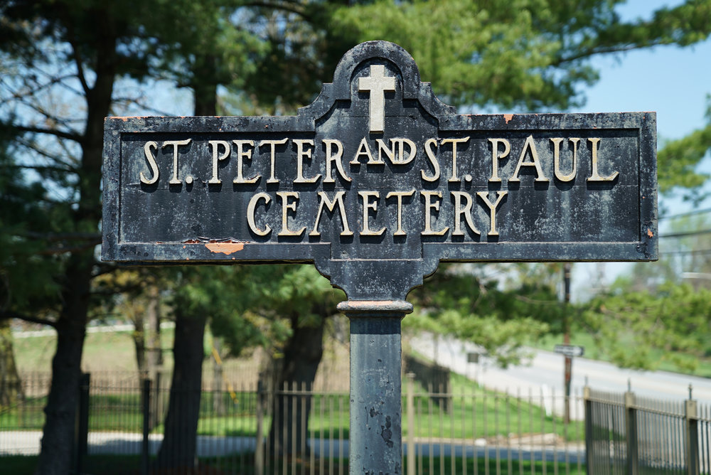 Sign near the front of Saints Peter & Paul Cemetery in Delaware County, Pennsylvania.