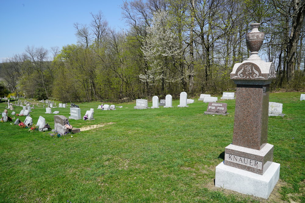 A most unusual monument. The Knauer monument resembles a style made long ago, but it was recently manufactured. Elverson Methodist Cemetery. Chester County, Pennsylvania.