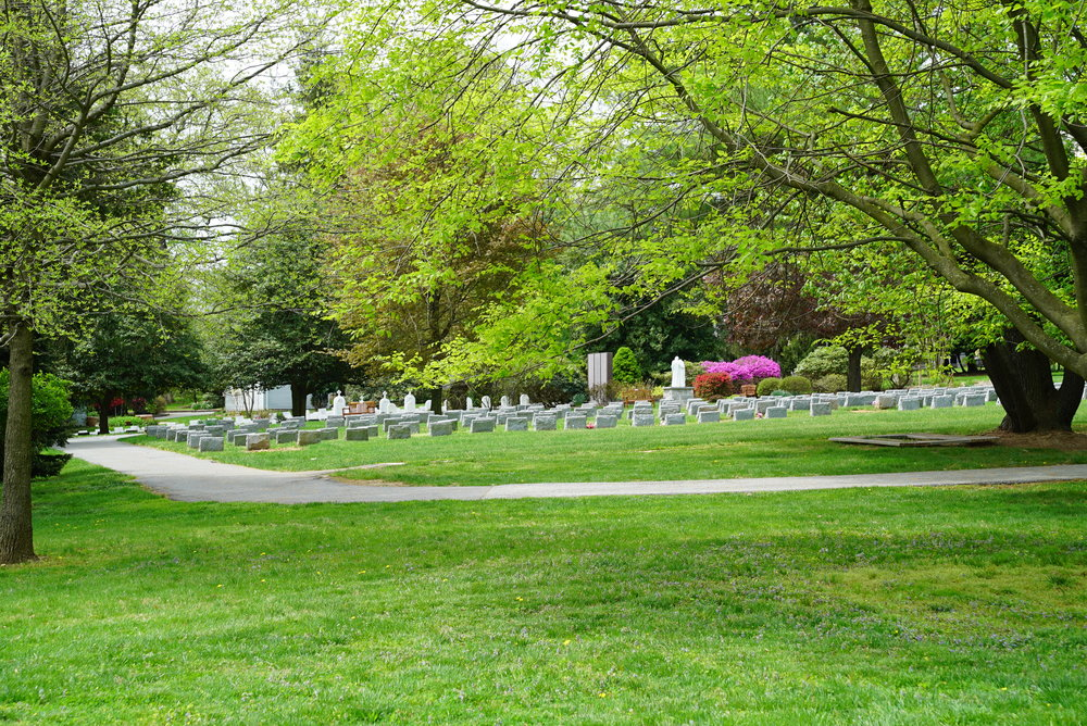 As seen from the nearest public road. Our Lady of Angels Cemetery. Aston, Pennsylvania.