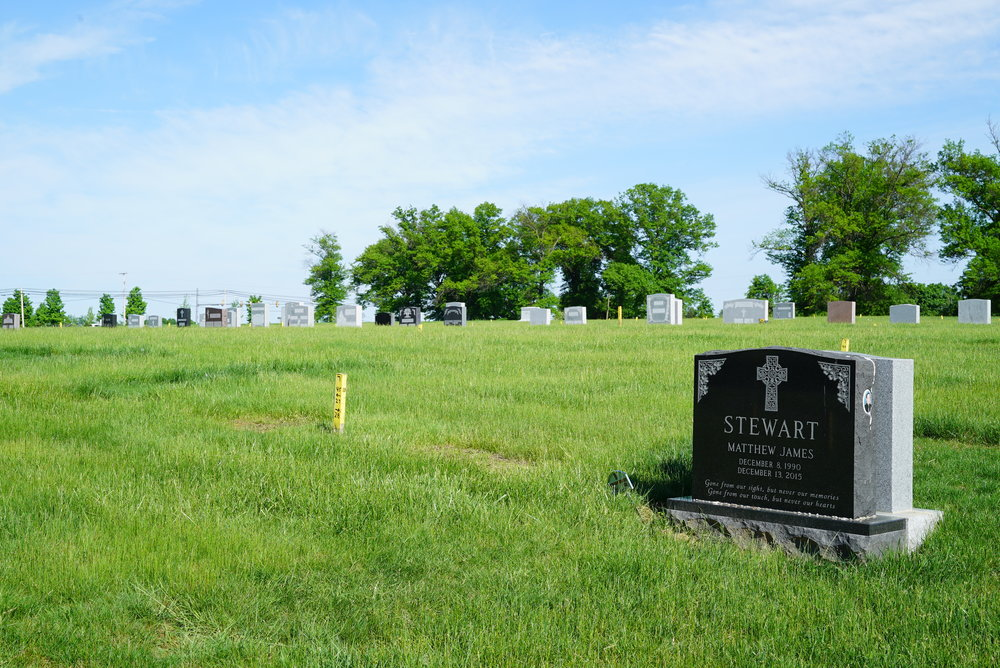All Saints Cemetery. Newtown, Pennsylvania. There was a customer service issue about the Stewart grave. It was written-up in the Philadelphia Inquirer in February 2017.