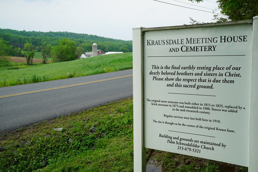 Kraussdale Meeting House and Cemetery. East Greenville, Pennsylvania.
