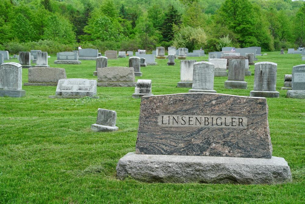 Unusual stone color. St. Paul's Lutheran Church Cemetery - Sassamansville, Pennsylvania.
