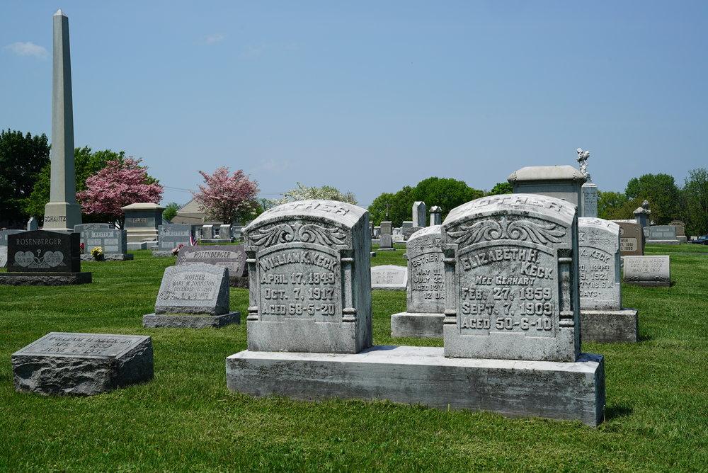 Old tombstones.