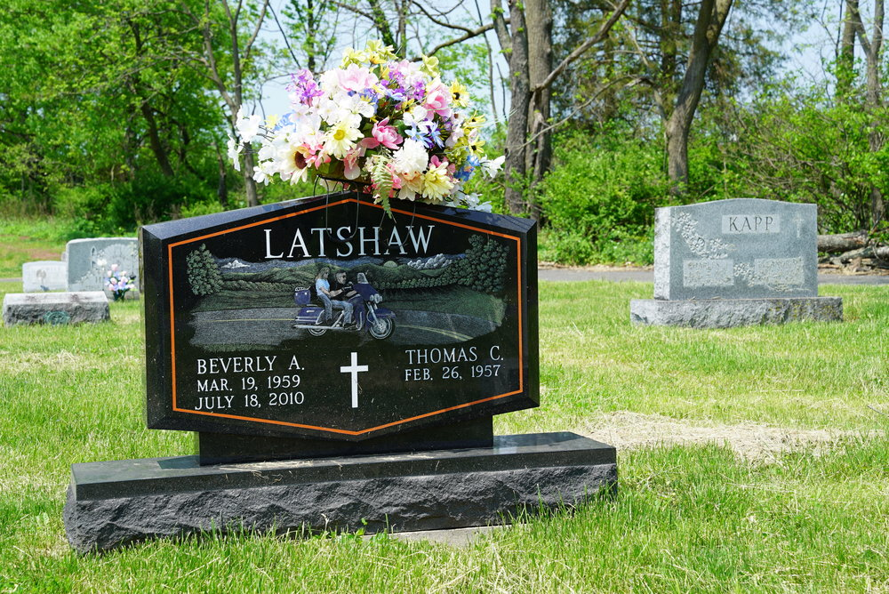 Harley Davidson style tombstone. Holy Cross Cemetery - Pennsburg, Pennsylvania.