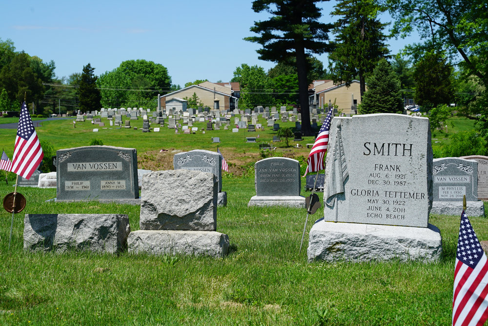 The hand-carved American flag seen on the Smith stone is unusual. Beechwood Cemetery - Bensalem, Pennsylvania.