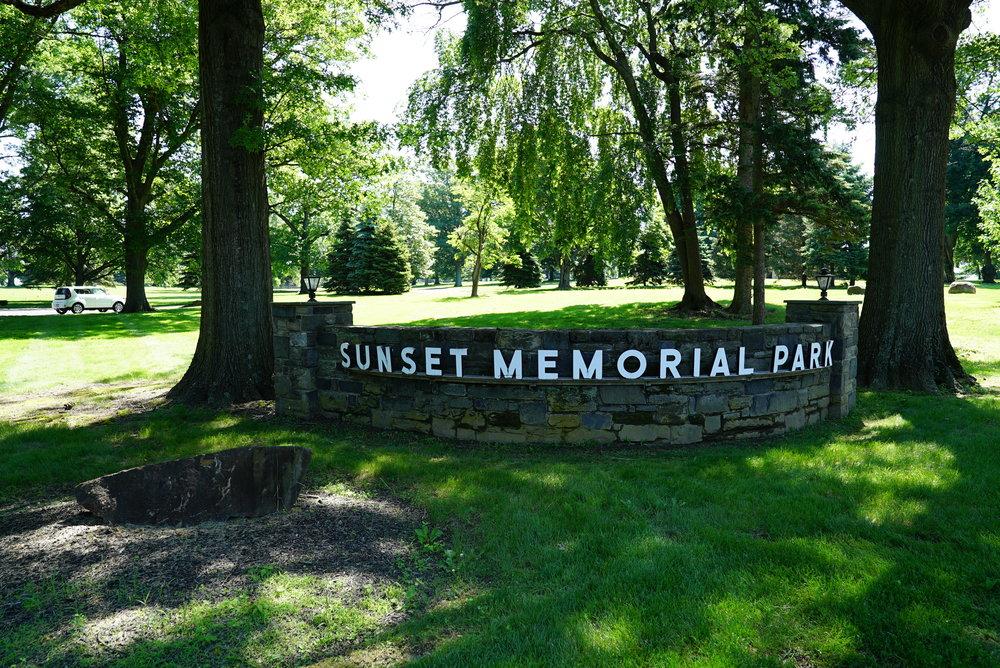 At an entrance to Sunset Memorial Park Cemetery. Feasterville area. Bucks County, Pennsylvania.
