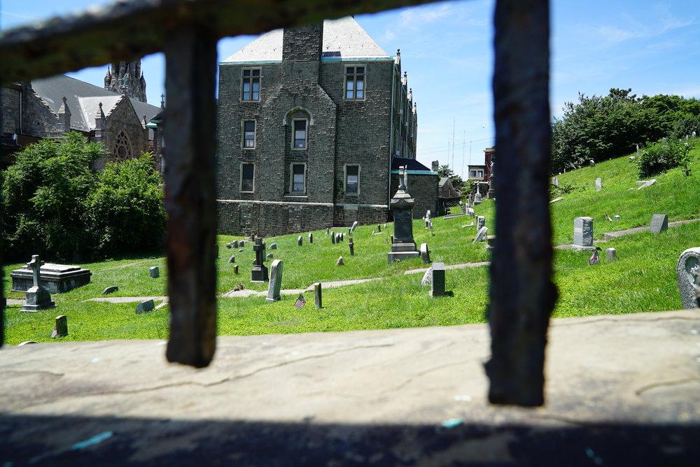 The cemetery is hidden. All access points are locked. St. John The Baptist Church Cemetery. Philadelphia, Pennsylvania.