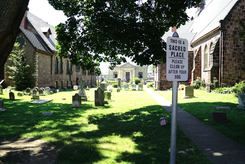 St. David's Episcopal Church Cemetery. Manayunk section of Philadelphia. The very interesting white building in the middle of this photo was a library. Now it is a private residence.