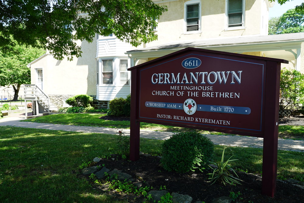 Sign at the front of Germantown Church of the Brethren Cemetery. Philadelphia, Pennsylvania.