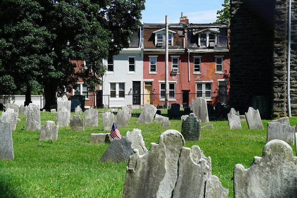 Behind the church. St. Michaels Evangelical Lutheran Church Cemetery. Philadelphia, Pennsylvania.