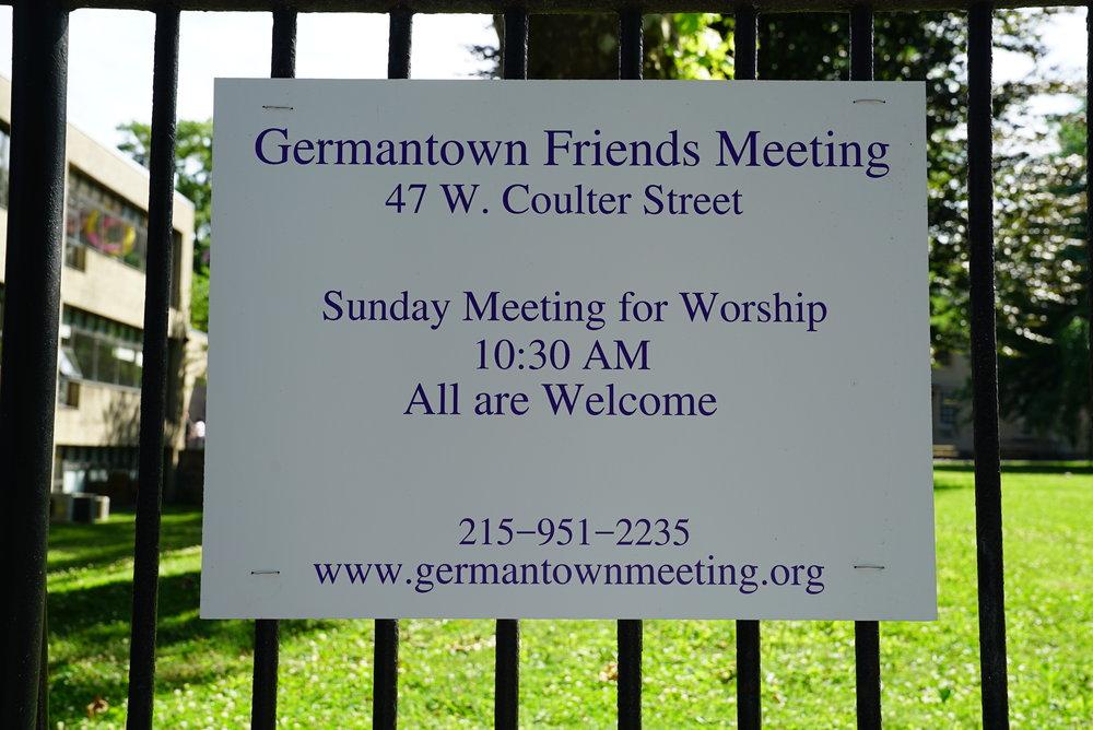 Sign at Germantown Friends Meeting Cemetery. Philadelphia, Pennsylvania.