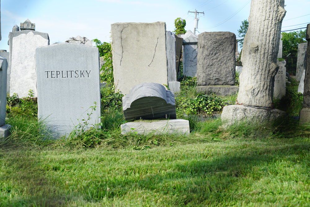 A look through the fence. Har Nebo Cemetery. Philadelphia, Pennsylvania.