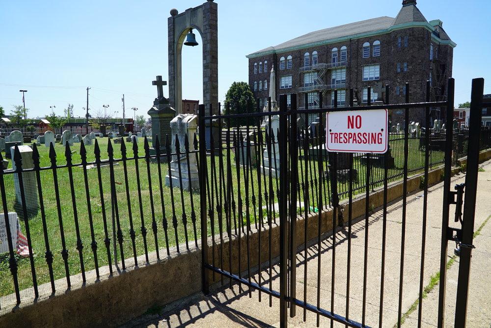 No easy access. St. Anne's Church Cemetery. Philadelphia, Pennsylvania.