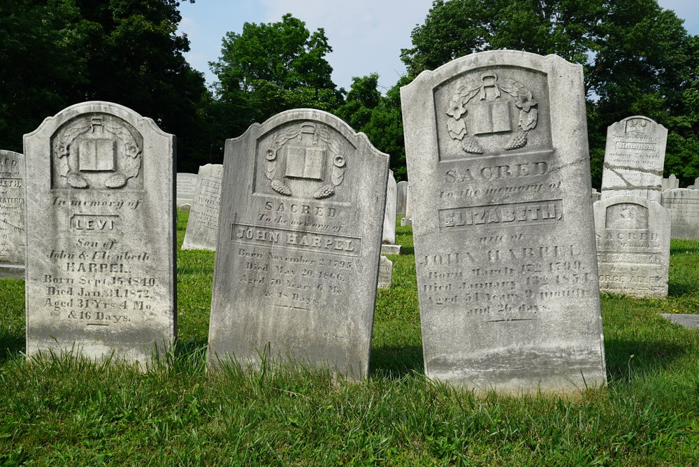 Ancient tombstones. St. Peter's Tohickon United Church of Christ Cemetery. Perkasie area of Bucks County, Pennsylvania.