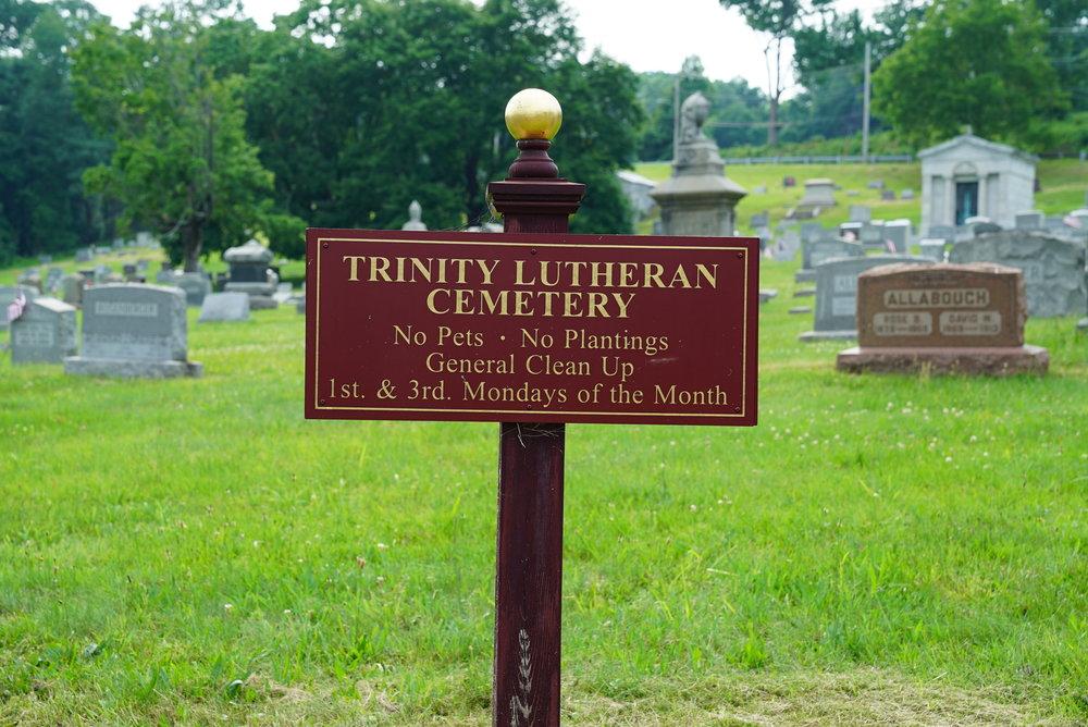 Sign at Trinity Lutheran Cemetery. Perkasie, Pennsylvania.