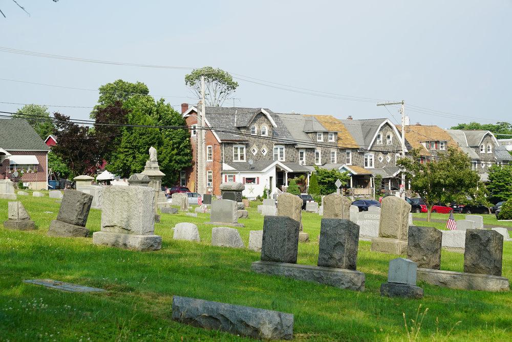 Lower section of Trinity Lutheran Cemetery. Perkasie, Pennsylvania.