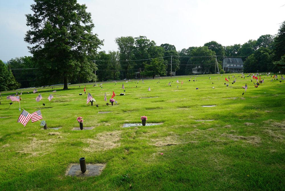 Flat marker section. Trinity Lutheran Cemetery. Perkasie, Pennsylvania.