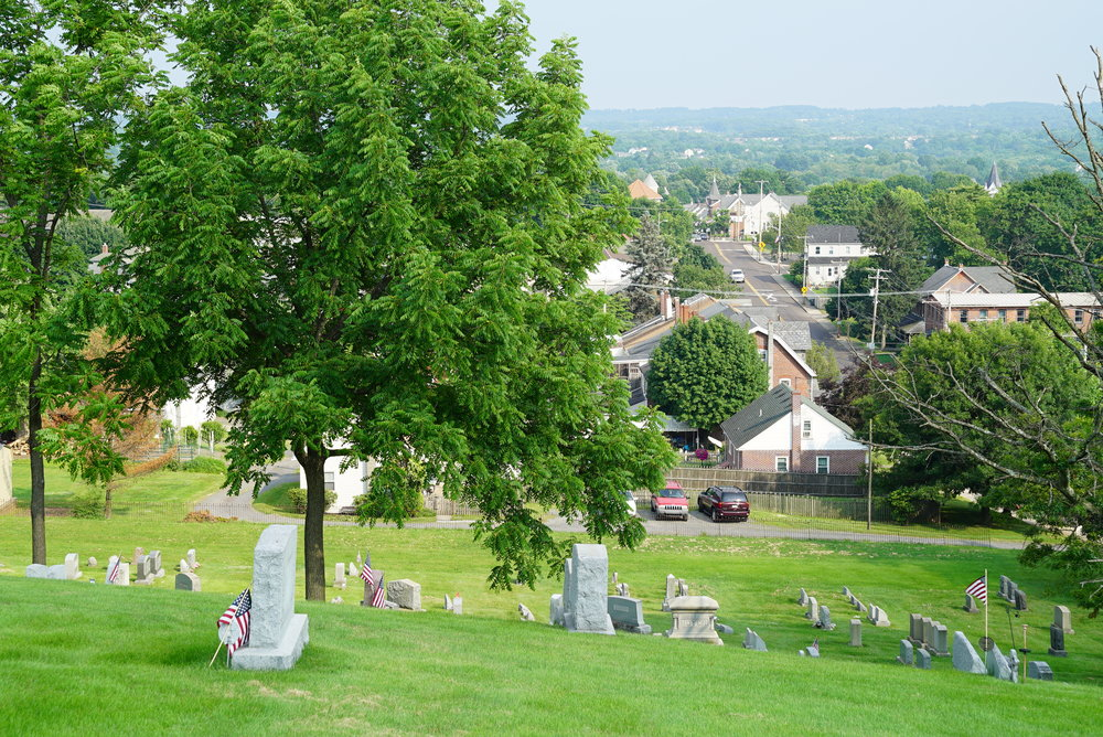 A view overlooking the town of Perkasie. St. Stephen's UCC Cemetery.