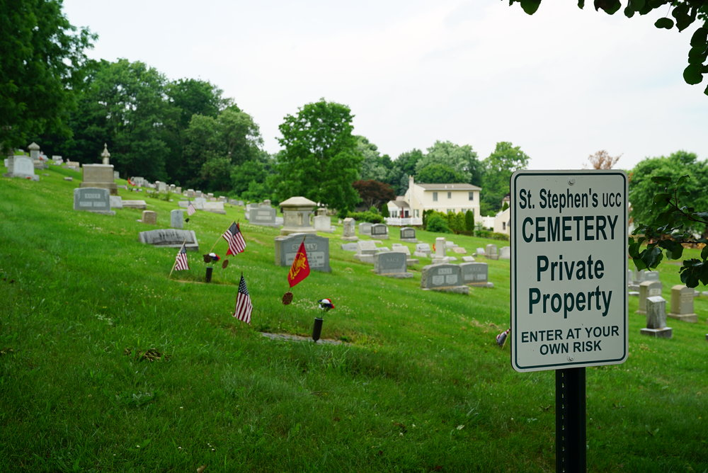 Ominous sign at St. Stephen's UCC Cemetery. Perkasie, Pennsylvania.
