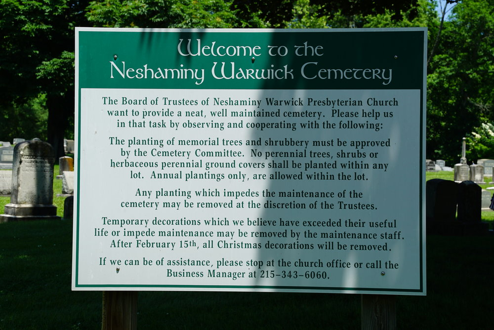 Sign at Neshaminy Warwick Cemetery. Warminster, Pennsylvania.