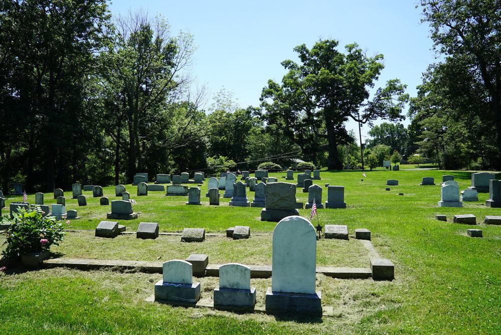 View towards the street. Hilltown Baptist Cemetery. Chalfont, Pennsylvania.