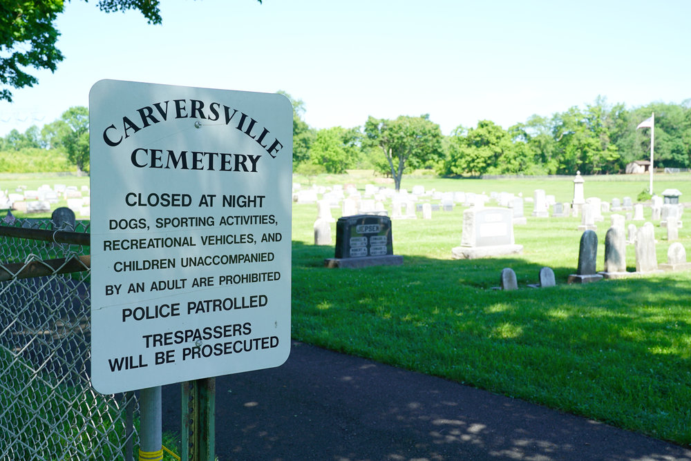 Warning sign at Carversville Cemetery. Carversville, Pennsylvania.