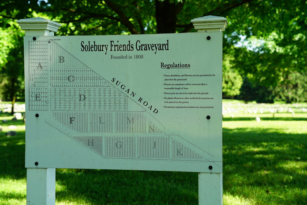 Sign at Solebury Friends Cemetery (Graveyard). New Hope, Pennsylvania area.